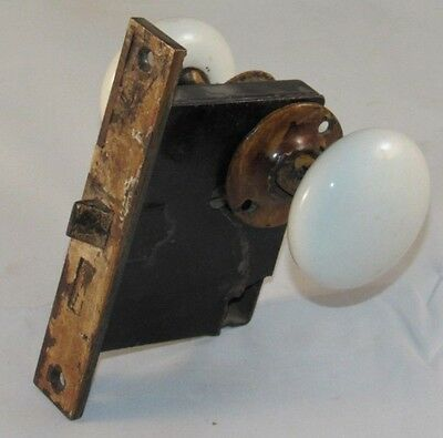 Antique Door Lock Mortise With White Glass Knobs Working Condition