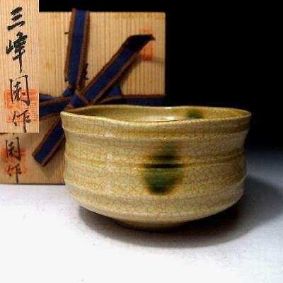 QF3: Japanese pottery tea bowl. Seto ware by Famous potter, Nobuaki Kato