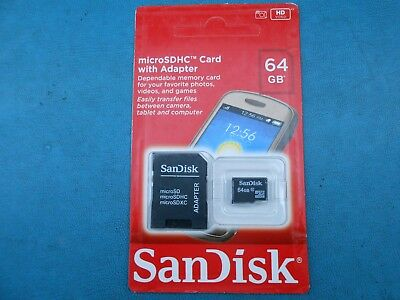 New Sealed SanDisk 64GB Micro SD Card Class 10 SDHC with Adapter Free Shipping!