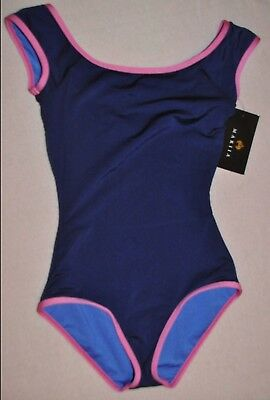 Mariia dance Leotard, Adult Small ,Navy blue with pink trim, new with tag
