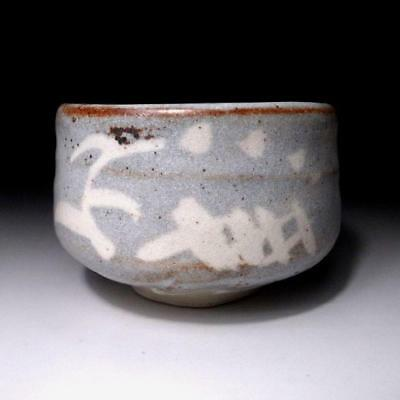 QE9: Japanese Pottery Tea bowl, Shino ware by Famous potter, Eichi Kato