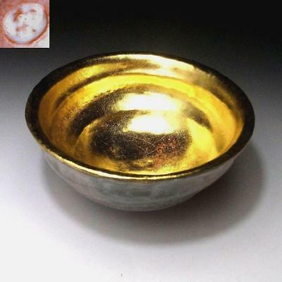 QH7: Japanese Tea Bowl of Raku ware by 1st class potter, Kawasaki Waraku, GOLD