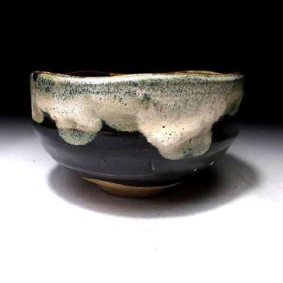 QA6: Vintage Japanese Tea bowl with Tenmoku glaze, Kyo ware