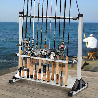 Kastking rack 39 em up fishing rods holder 12 24 rod racks for Wall fishing pole holder