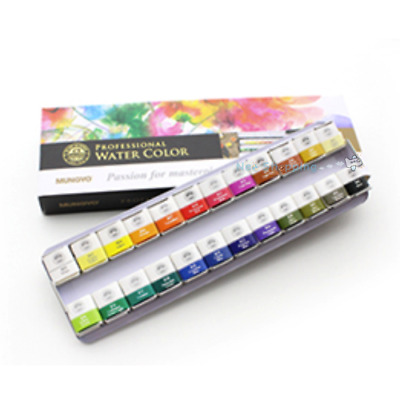 Mungyo Professional Water Color Half Pan 24 Color Set - MWPH-24C