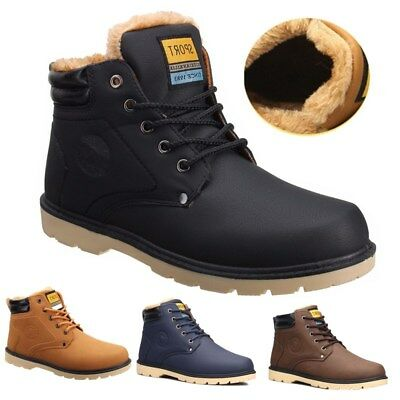 Men Winter Warm Leather Fur High Top Loafers Ankle Boots Sneaker Casual Shoes