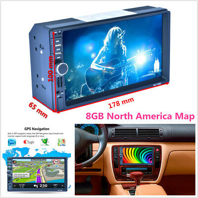 """7"""" 2DIN Touch Screen Car MP5 Player GPS Nav FM Bluetooth RDS Radio AUX & 8GB Map"""