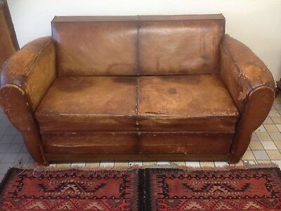 French art deco  Leather Sofa Bed vintage industrial