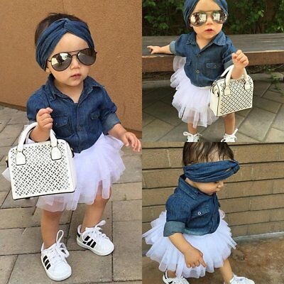 3pcs Kids Baby Girls Toddler Denim Shirt +Tutu Skirt Dress Set Clothes Outfits