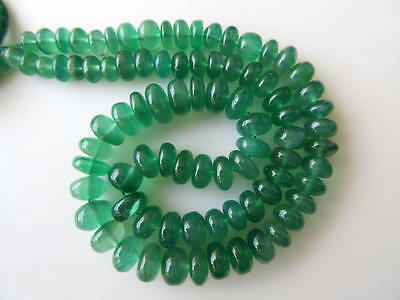 Natural Green Onyx Smooth Rondelle Beads 6mm-8.5mm 18 Inch Strand GDS672