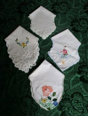4 VINTAGE BREAD BASKET DOYLIES with EMBROIDERY DECORATION