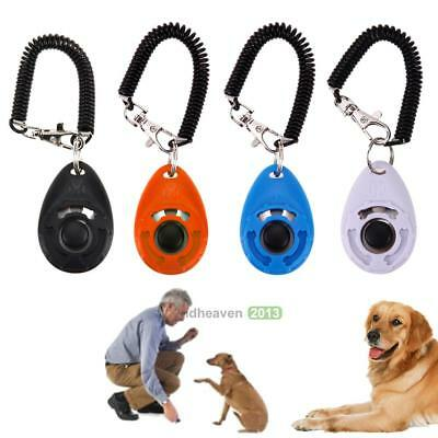 Pet Training Clicker For Dogs or Puppies w/ Stretch Cable Keyring Obedience Tool