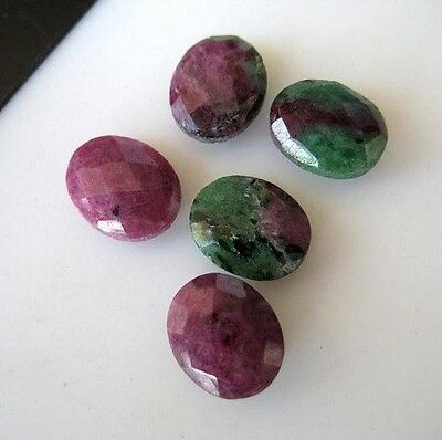 10 Pcs Natural Ruby Zoisite Oval Shaped Cabochon Both Side Faceted 9x11mm BB146