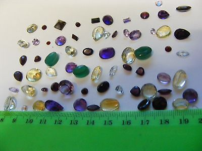 Lot of 63 Genuine Faceted Gemstones,natural mined stones. Mostly ring size.