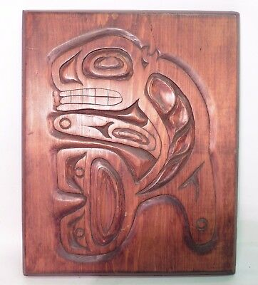 Carved Haida Art Wooden Plaque 'henry Mckay Prince Rupert British Columbia'