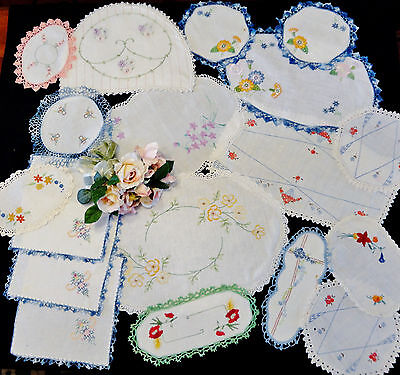 18 Vintage Hand Embroidered Items Craft Use