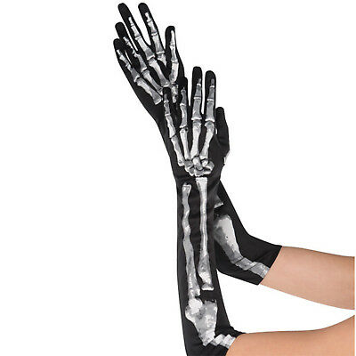 Adult's Halloween Skeleton Fancy Dress Party Costume Accessory Long Gloves