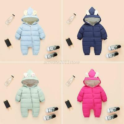 Winter Infant Baby Boy Girl Warm Snowsuit Hooded Romper Cotton Coat Outwear Cute