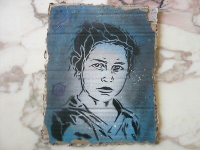 C215: Pochoir Original Sur Carton-Signe/street Art/space Invader/banksy/miss Tic
