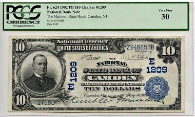 Fr. 624 1902 PB $10 Charter #1209 National Bank Note PCGS VF30