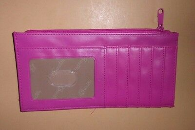 Buxton~Pink Leather ID Credit Card Slim Wallet