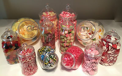JUMBO 12 Vintage Plastic Sweet Jars for Candy Buffet Wedding Christening Party