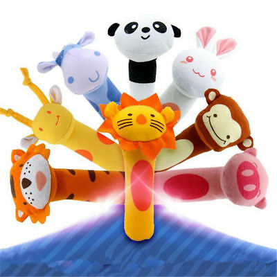 Newborn Baby Toy Soft Sound Animal Handbells Squeeze Rattle Gifts New Arrival