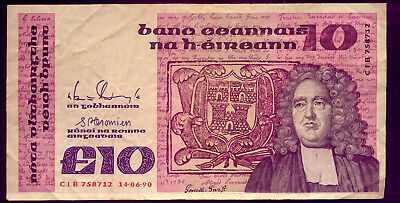 Ireland: A  Lovely 10  Pound  Note - Average Condition +++  No Reserve