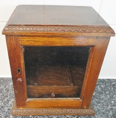 Vintage Wooden Smokers Cabinet (23 x 15.5 x 25 cm.) With Pipe Racks for 6 Pipes
