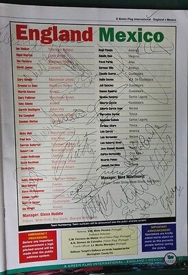 1997 ENGLAND v. MEXICO  SIGNED PROGRAMME x 20 players - RARE SIGNED ON LINE UP