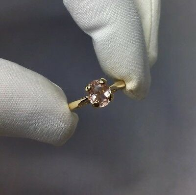 NATURAL 1.07ct Morganite Gold Ring Oval Cut 9k Peach Pink Beryl Solitaire