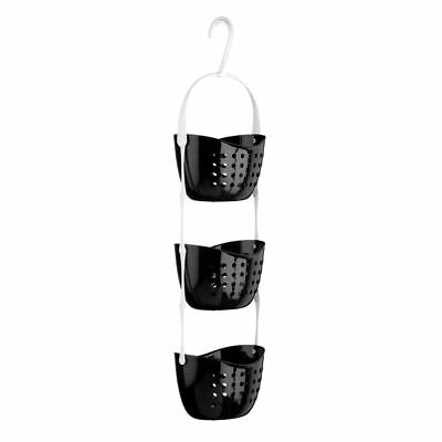 3 Tier Modern Hanging Basket Shower Caddy Rack Organise Plastic Storage Black