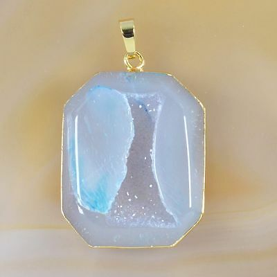 Natural Agate Druzy Geode Faceted Pendant Bead Gold Plated T032046