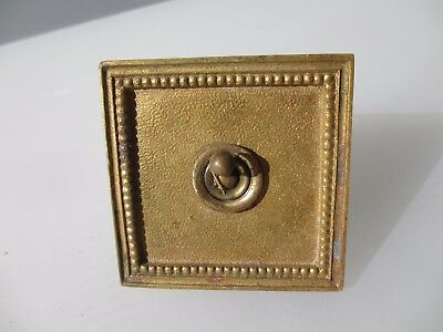 """Vintage Brass Light Switch Square Plate Ceramic Art Deco Old Antique  """"Walsall"""""""