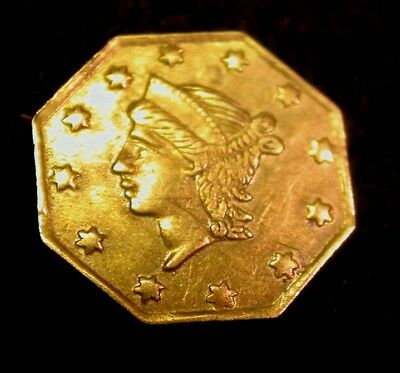 1856 Octagonal California Fractional Gold 1/4 Dollar AU Condition