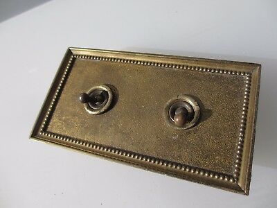 """Vintage Brass Light Switch Double Plate Ceramic Art Deco Old Antique  """"Walsall"""""""
