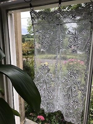 "Beautiful Antique French Chateau Cornelli Tambour Lace Curtain 13""/22"" Inc Rings"