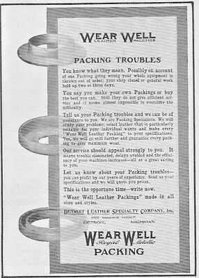Vintage 1912 Detroit Leather Specialty Co.,WEAR-WELL PACKING ad ~ Detroit, MI