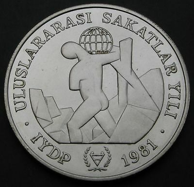 TURKEY 3000 Lira 1981 - Silver - Year of Disabled Persons - aUNC - 1709