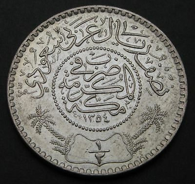 SAUDI ARABIA (United Kingdoms) 1/2 Riyal AH 1354 (1935) - Silver - 1712