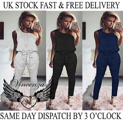 Womens Bandage Evening Party Playsuit Ladies Romper Long Jumpsuit Size 6 -16 UK