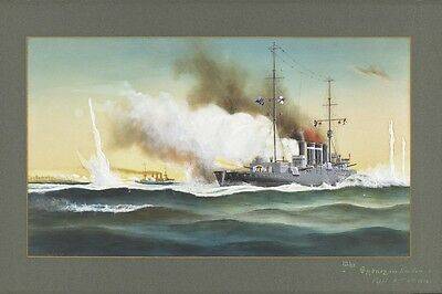 HMAS SYDNEY vs  EMDEN at Cocos Islands 1914 modern digital Art Postcard