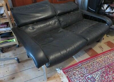 Pieff Black Leather And Chrome Retro 70's Vintage 2 Seater Sofa For Restoration