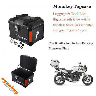 Motorcycle Aluminum Monokey Rear Top Case Luggage Storage Package Box Universal