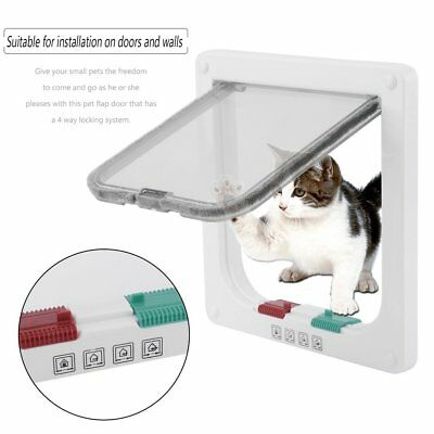 4 Ways Locking White Frame Magnetic Pet Cat Small Dog Flap Door ABS With Screws