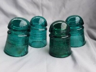 4 Blue Green Vintage Electric Telephone Pole Glass Insulators Brookfield H.C. Co