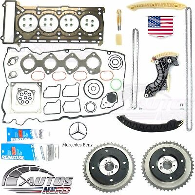 Timing Chain Kit Camshaft Adjuster Full Head Gasket Set MERCEDES 1.8L Kompressor