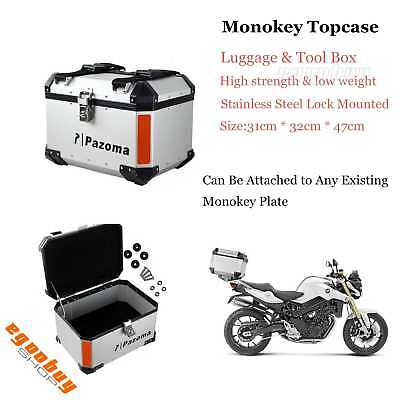 Motorcycle Rear Aluminum Monokey Outback Top Case Tool Luggage Storage Box New