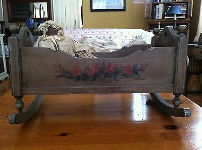 Antique Reproduction Hand Painted Baby Doll Cradle Crib