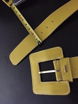 Vintage An Abbe Creation Wide Yellow Leather Women's Belt